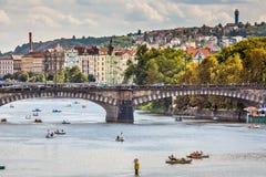 Vltava river and bridges in Prague bird view panorama Royalty Free Stock Photography