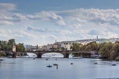 Vltava river and bridges in Prague bird view panorama Stock Photography