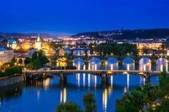 Vltava river and bridges of Prague Royalty Free Stock Photography