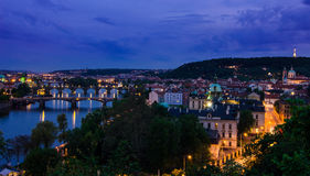 Vltava river and bridges in Prague after sunset Royalty Free Stock Photo