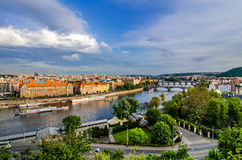 Vltava river and bridges in Prague at sunset Royalty Free Stock Images