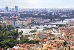 Vltava River and Bridges in Prague Stock Images