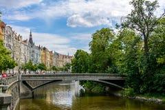 Vltava River canal in Prague, Slovansky ostrov, Czech Republic. Bohemia Stock Photo