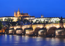 Vltava river, Charles Bridge and Prague Castle Royalty Free Stock Image