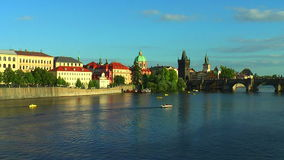 Vltava river and Charles Bridge in Prague stock video footage