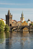 Vltava river and Charles bridge, Prague Stock Photo