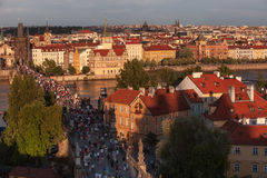 Vltava river and a Charles Bridge in Prague ,Czech Republic Royalty Free Stock Image