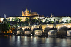 Vltava river, Charles Bridge and St. Vitus Cathedral at night Stock Images