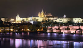 Vltava river, Charles Bridge (Stone Bridge, Prague Bridge)  and St. Vitus Cathedral at night. Prague Stock Image