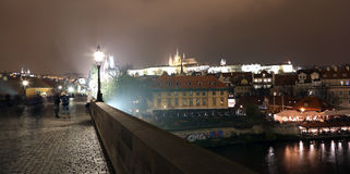 Vltava river, Charles Bridge (Stone Bridge, Prague Bridge)  and St. Vitus Cathedral at night. Prague. Stock Image