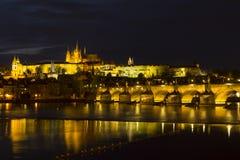 Vltava river and Charles bridge Royalty Free Stock Photos