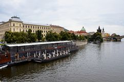 The Vltava river and the city of Prague Stock Photography