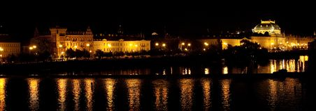 Vltava river embankment night Royalty Free Stock Image