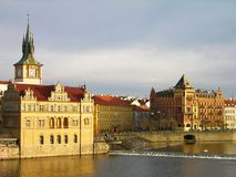 Vltava river embankment, Prague Royalty Free Stock Image