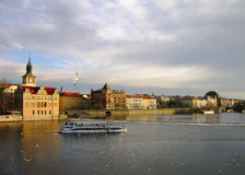 Vltava river embankment, Prague Stock Images