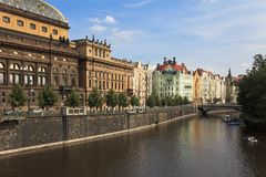 Vltava river embankment, Prague, Czech Republic Royalty Free Stock Photography