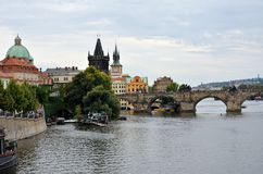 The Vltava river and the Charles Bridge Royalty Free Stock Photos