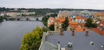 Vltava River and Josefov in Prague Royalty Free Stock Photo