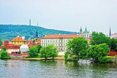 Vltava River with Kafka Museum and Old town of Prague. Czech Republic stock photo
