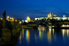 Vltava River at night in Prague Royalty Free Stock Photo