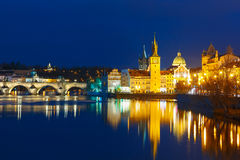 Vltava River and Old Town at night in Prague Stock Images