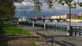 Vltava River and prague architecture from Smichov district after stock footage
