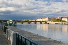 Vltava River and Prague architecture from Smichov district Royalty Free Stock Photo