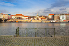 Vltava River and prague architecture from Smichov district at su. Prague,Czech Republic - March 20,2017: Vltava River and prague architecture from Smichov Stock Images