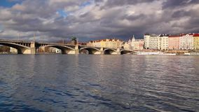 Vltava River and prague architecture from Smichov stock footage
