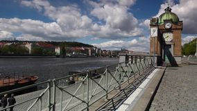 Vltava River and prague architecture from Vyton. stock video footage