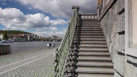 Vltava River and prague architecture from Vyton. stock video