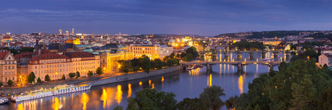 The Vltava River, Prague, Czech Republic at night. Bridges over the Vltava River in Prague, Czech Republic. Photographed from above at night Royalty Free Stock Photography