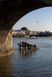 Vltava river. The Vltava river in the Prague. Czech republic. Verticall position Stock Photos