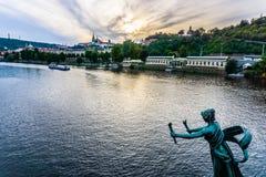 Vltava River in Prague, Czech Republic. Vltava river - view from Cechuv Bridge in Prague Royalty Free Stock Photos