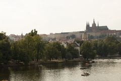 Vltava river in Prague from the Mala Strana side. View on Prague's Castle Stock Photography