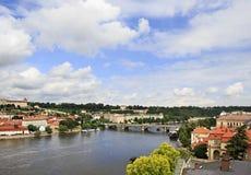 Vltava River in Prague. 's historical center Stock Photos