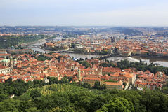 Vltava River in Prague's historical center. View from Petrin Lookout Tower Royalty Free Stock Images