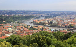 Vltava River in Prague's historical center. View from Petrin Lookout Tower Stock Photography