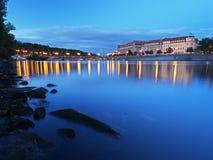 Vltava River in the summer evening. Vltava River near Manes Bridge, Prague Stock Photo