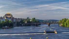 Vltava river timelapse in district Strelecky ostrov with the bridge of the Legions and National Theater building, Prague stock video footage