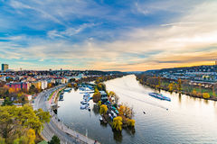 Vltava river and a yacht club from Prague's Vyshegrad fort at the blue hour Stock Photography