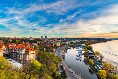 Vltava river and a yacht club from Prague's Vyshegrad fort at the blue hour Stock Images