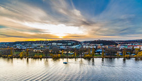 Vltava river and a yacht club from Prague's Vyshegrad fort at the blue hour Royalty Free Stock Images