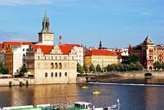 Vltava riverside buildings, Prague Stock Photo