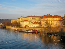 Vltava riverside Pragues Old Town Stock Images