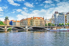 Vltava view with Dancing House at right. Prague, Czech Republic. Royalty Free Stock Image