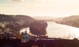 Vltava in Vysehrad Stock Foto's
