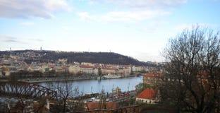 Vltavaen, Prague Arkivfoto