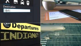 Vlucht aan Indianapolis Het reizen naar de conceptuele de monteringanimatie van Verenigde Staten stock footage