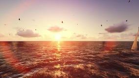 Vlucht boven tropisch eiland, oceaan en jacht die bij zonsopgang varen vector illustratie